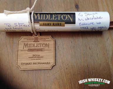 Barry Crockett and Brian Nation were kind enough to sign my Midleton Pearl menu!